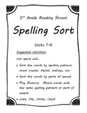 Reading Street Spelling Sort 3rd Grade