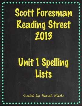 Reading Street Spelling Unit 1