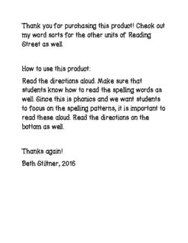 Reading Street Spelling Unit 3