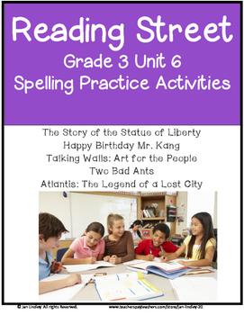 Reading Street Spelling Unit 6 Grade 3