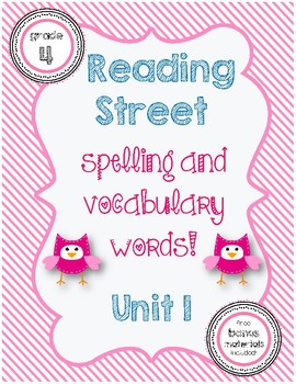 Reading Street Spelling / Vocabulary Words Unit 1
