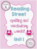 Reading Street Spelling / Vocabulary Words Unit 1