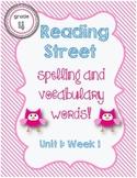 Reading Street Spelling / Vocabulary Words Unit 1 Week 1