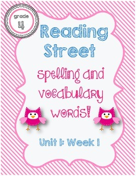 Reading Street Spelling / Vocabulary Words Unit 1 Week 1