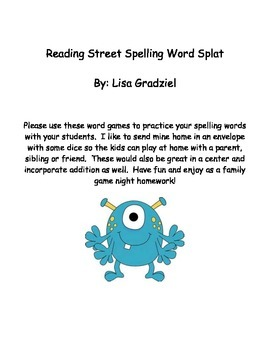Reading Street Spelling Word Splat Unit 1