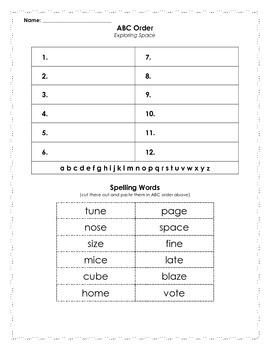 Reading Street Spelling Words ABC Order - 2nd grade