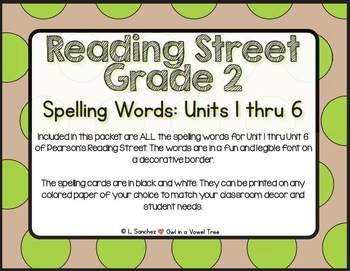 EDITABLE Reading Street Spelling Words Unit 1 thru Unit 6- 2nd Grade