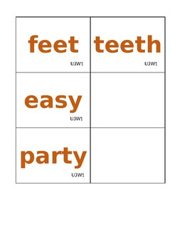 Reading Street Spelling and High Frequency Word Cards