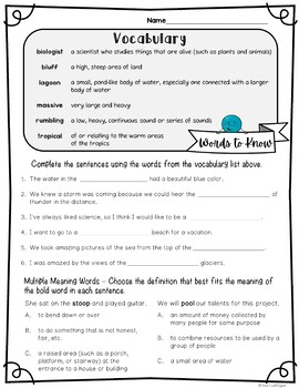 Reading Street Spelling and Vocabulary Activities: Adelina's Whales