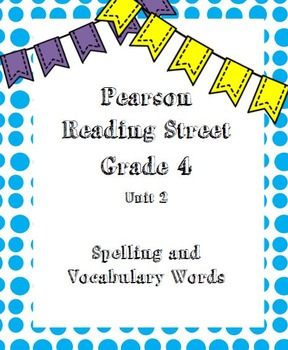 Reading Street Spelling and Vocabulary Words Unit 1-6 Bundle
