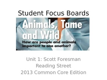 Reading Street Student Focus Boards: Unit 1 2013 Common Co