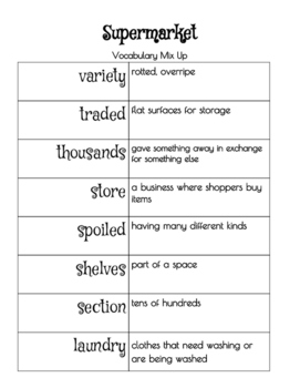 Reading Street Supermarket Word Study and Vocabulary Sort