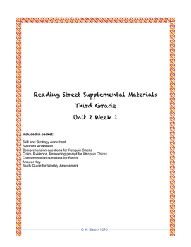 Reading Street Supplemental Materials Grade 3 Unit 2 Week 1