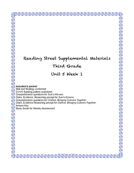 Reading Street Supplemental Materials Grade 3 Unit 5 Week 1