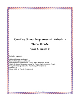 Reading Street Supplemental Materials Grade 3 Unit 6 Week 3