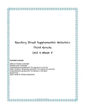 Reading Street Supplemental Materials Grade 3 Unit 6 Week 5