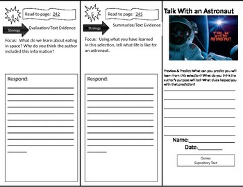 Reading Street: Talk With an Astronaut Trifold/Close Read Questions