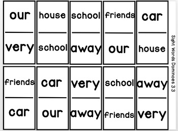 Reading Street: The Class Pet, Sight Word Dominoes