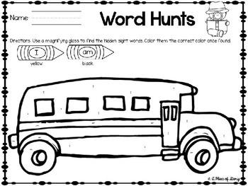 The Little School Bus Literacy Center Activities