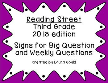 Reading Street Third Grade Question Posters - cool colors