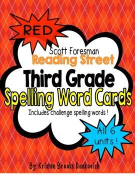 Reading Street Third Grade Spelling Word Cards (Red)