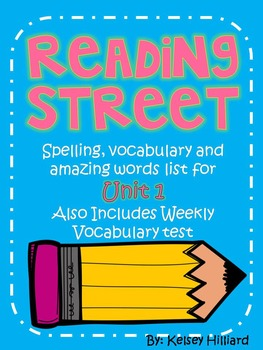 Reading Street Third Grade Unit 1 Spelling List, vocabular