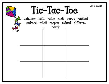 Reading Street Tic-Tac-Toe Unit 5