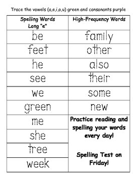 Reading Street Traceable Spelling and HF Words