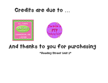 Reading Street, Unit 1 3rd grade