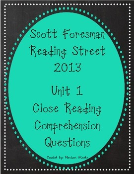 Reading Street Unit 1 Close Reading Comprehension - Grade 3