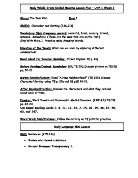 Reading Street Unit 1 Guided Reading Lesson Plans for 5 Stories