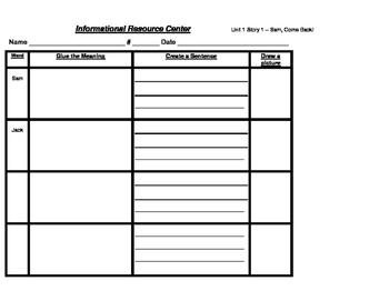 Reading Street Unit 1 Informational Resources Center Bundle
