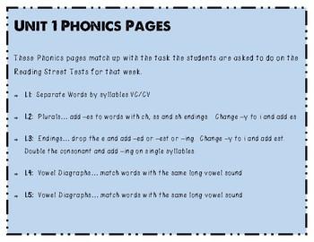 Third Grade Reading Street Unit 1 Phonics Pages