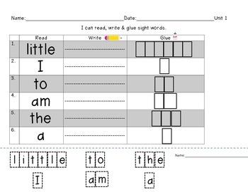 Reading Street Unit 1 Sight Words- Read, Write, Glue