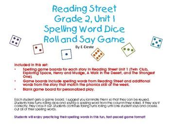 Reading Street Unit 1 Spelling Dice Game
