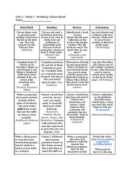 Reading Street Unit 1/Week 1 Choice Board
