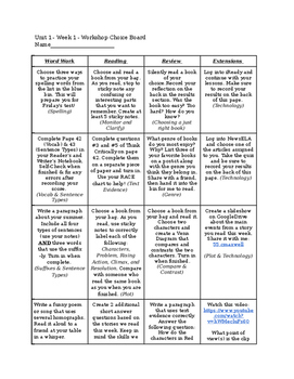 Reading Street Unit 1/Week 1 Choice Board