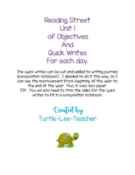 Reading Street Unit 1 Objectives and Quick Writes