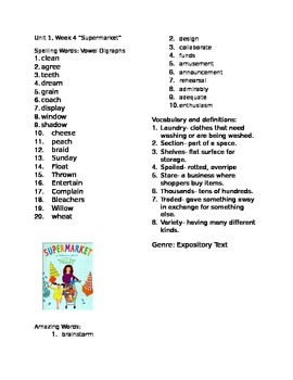 Reading Street Unit 1 Week 4 Supermarket Information Sheet