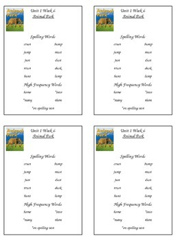 Reading Street Unit 1 Week 6 Spelling Packet