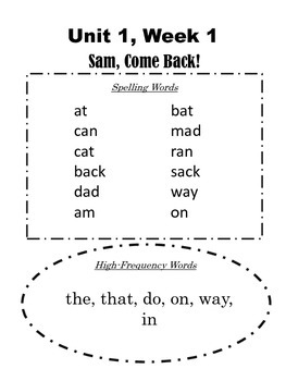 1st Grade Reading Street Unit 1-6: Take-Home Spelling Words
