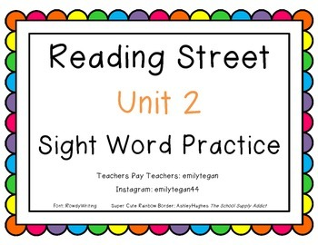 Reading Street Unit 2 Sight Word Activities