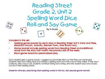 Reading Street Unit 2 Spelling Dice Game