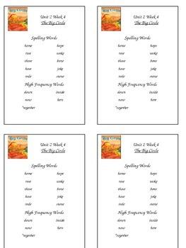 Reading Street Unit 2 Week 4 Spelling Packet