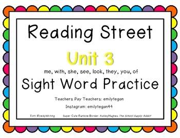 Reading Street Unit 3 Activities