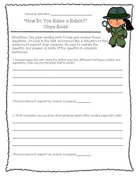 Reading Street Unit 3 Close Reading Comprehension - Grade 3