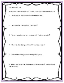 Reading Street Unit 3 Comprehension Questions - Grade 4