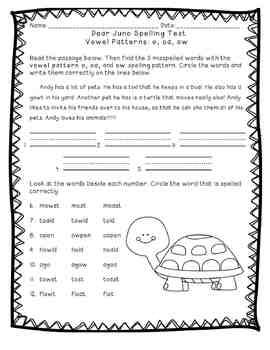 Reading Street: Unit 3 - Dear Juno Spelling Word Blocks and Test