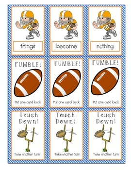 Reading Street Unit 3 Football Sight Word Game