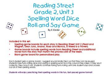 Reading Street Unit 3 Spelling Dice Game